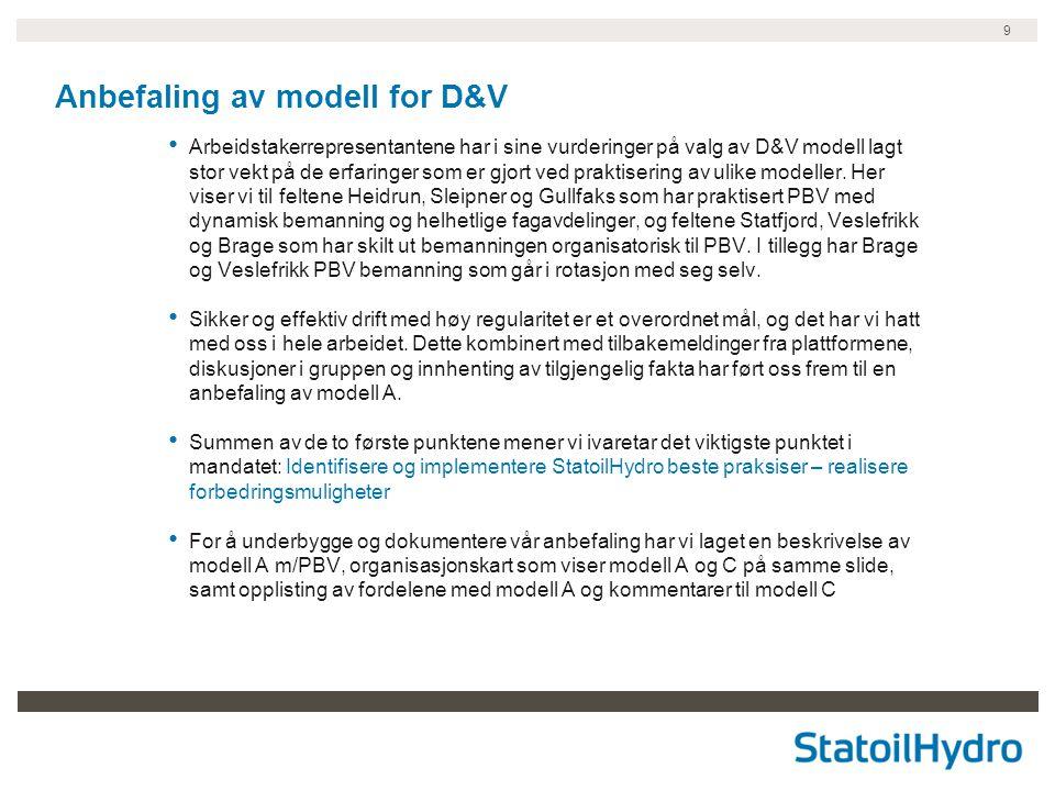 Anbefaling av modell for D&V