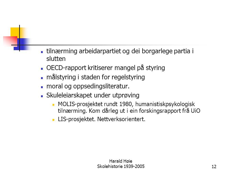 Harald Høie Skolehistorie 1939-2005