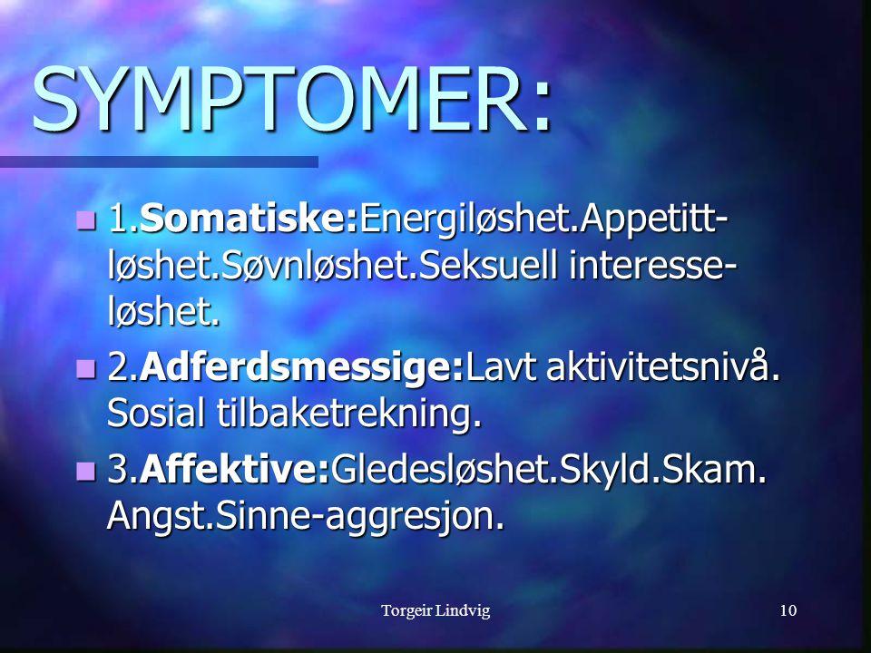 SYMPTOMER: 1.Somatiske:Energiløshet.Appetitt-løshet.Søvnløshet.Seksuell interesse-løshet.
