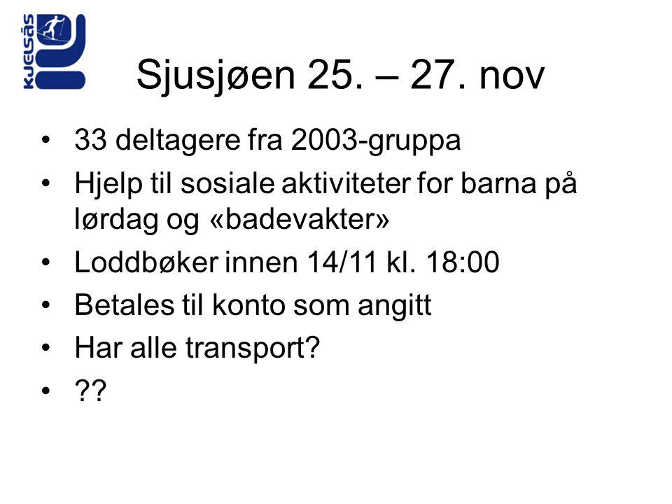 Sjusjøen 25. – 27. nov 33 deltagere fra 2003-gruppa