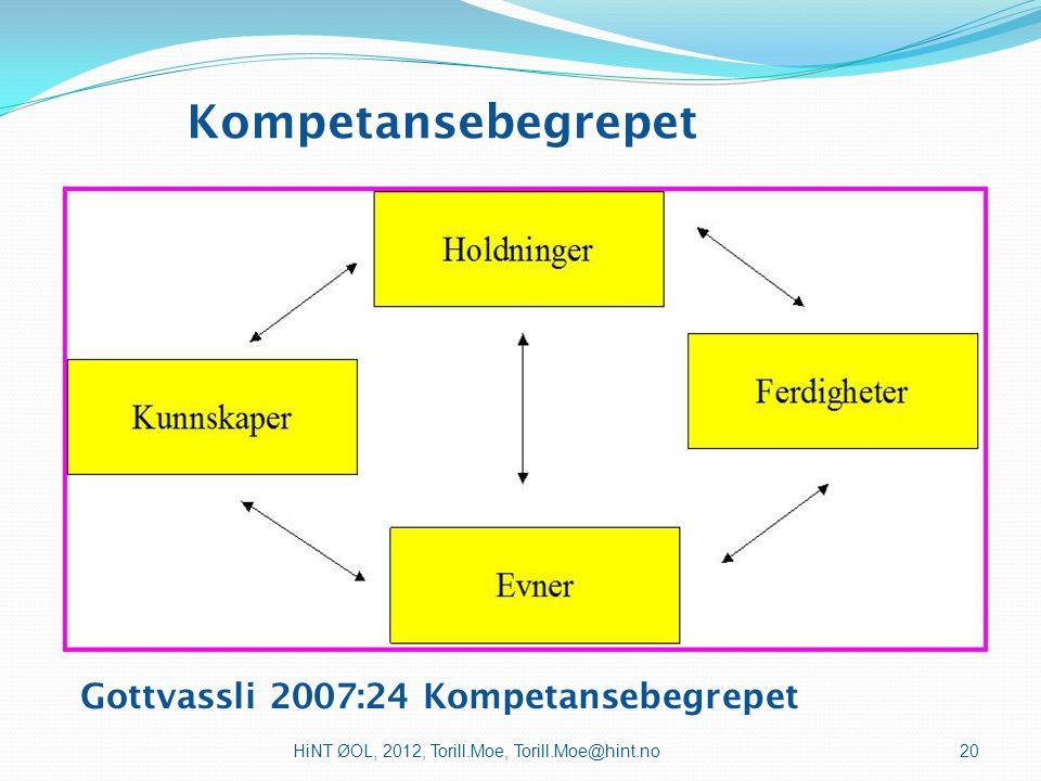 Kompetansebegrepet Gottvassli 2007:24 Kompetansebegrepet