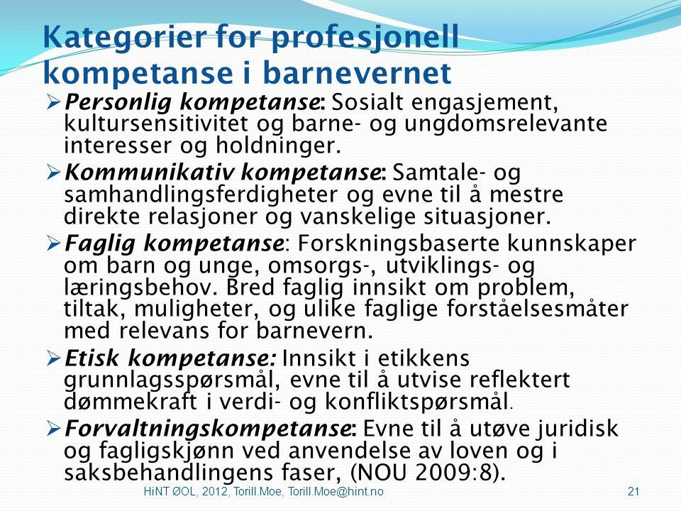 Kategorier for profesjonell kompetanse i barnevernet