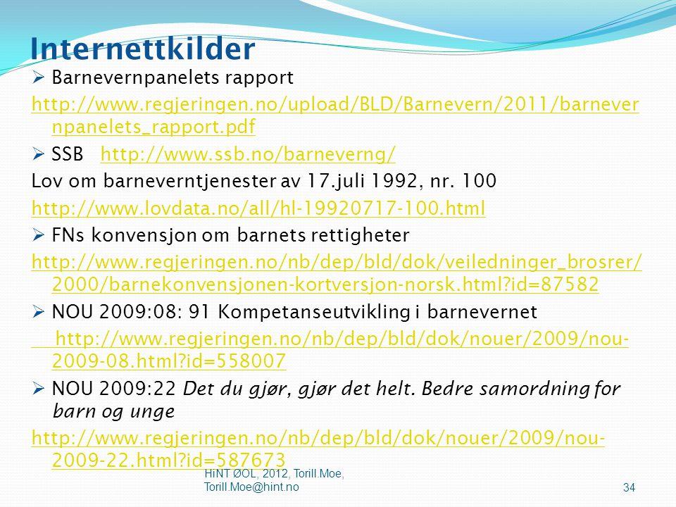 Internettkilder Barnevernpanelets rapport