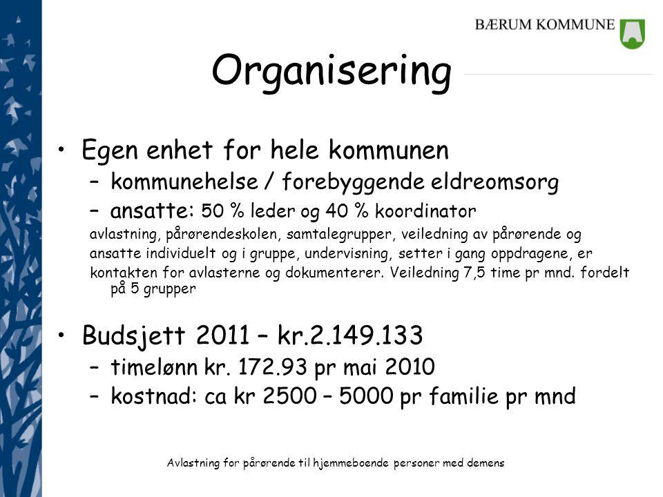Organisering Egen enhet for hele kommunen Budsjett 2011 – kr.2.149.133