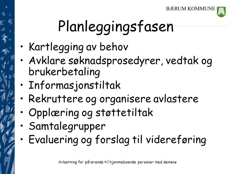 Planleggingsfasen Kartlegging av behov