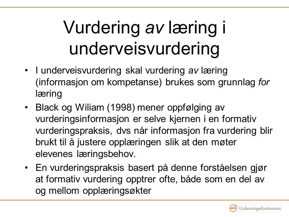 Vurdering av læring i underveisvurdering