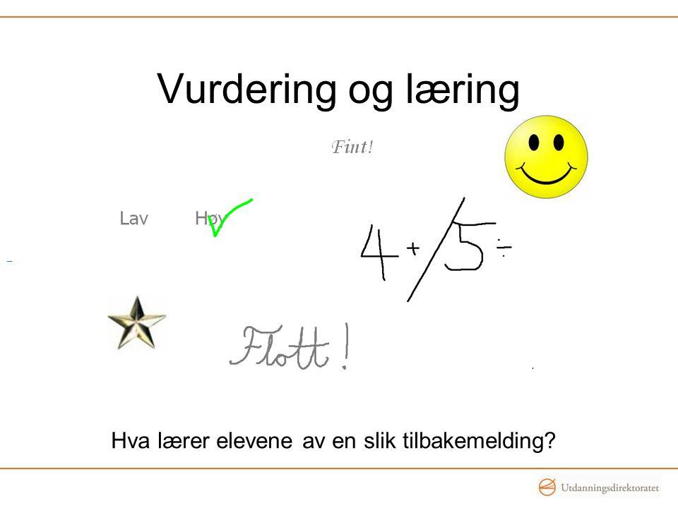 Vurdering og læring Hva lærer elevene av en slik tilbakemelding