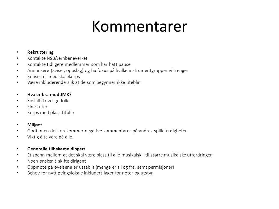 Kommentarer Rekruttering Kontakte NSB/Jernbaneverket