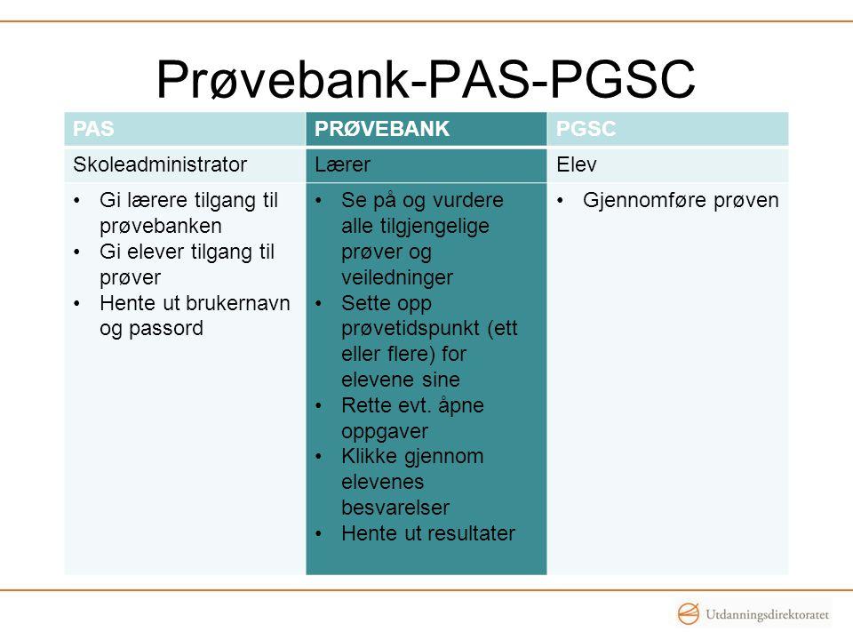 Prøvebank-PAS-PGSC PAS PRØVEBANK PGSC Skoleadministrator Lærer Elev