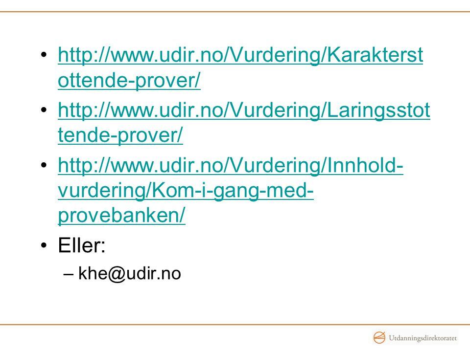 http://www.udir.no/Vurdering/Karakterstottende-prover/ http://www.udir.no/Vurdering/Laringsstottende-prover/