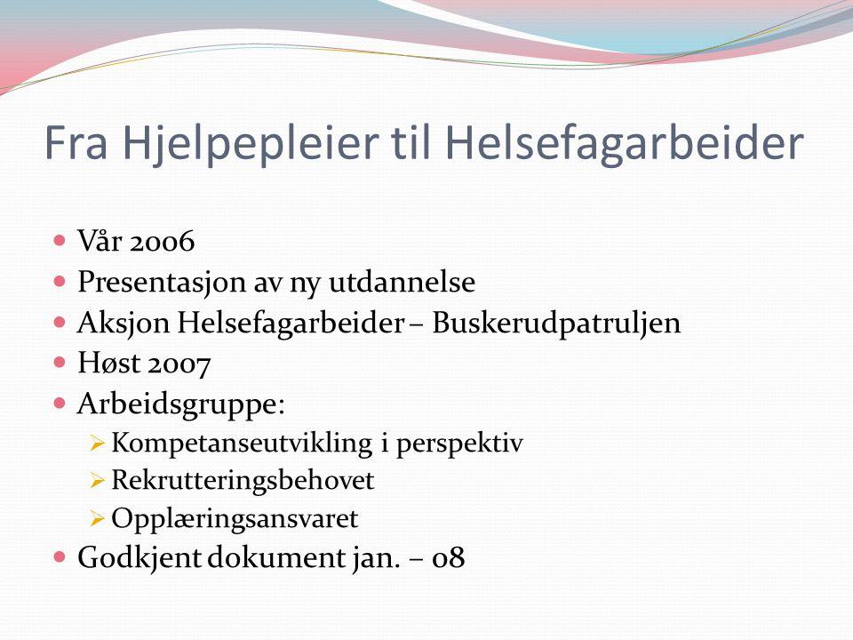 Fra Hjelpepleier til Helsefagarbeider