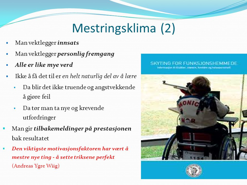 Mestringsklima (2) Man vektlegger innsats