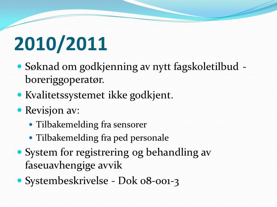 2010/2011 Søknad om godkjenning av nytt fagskoletilbud - boreriggoperatør. Kvalitetssystemet ikke godkjent.