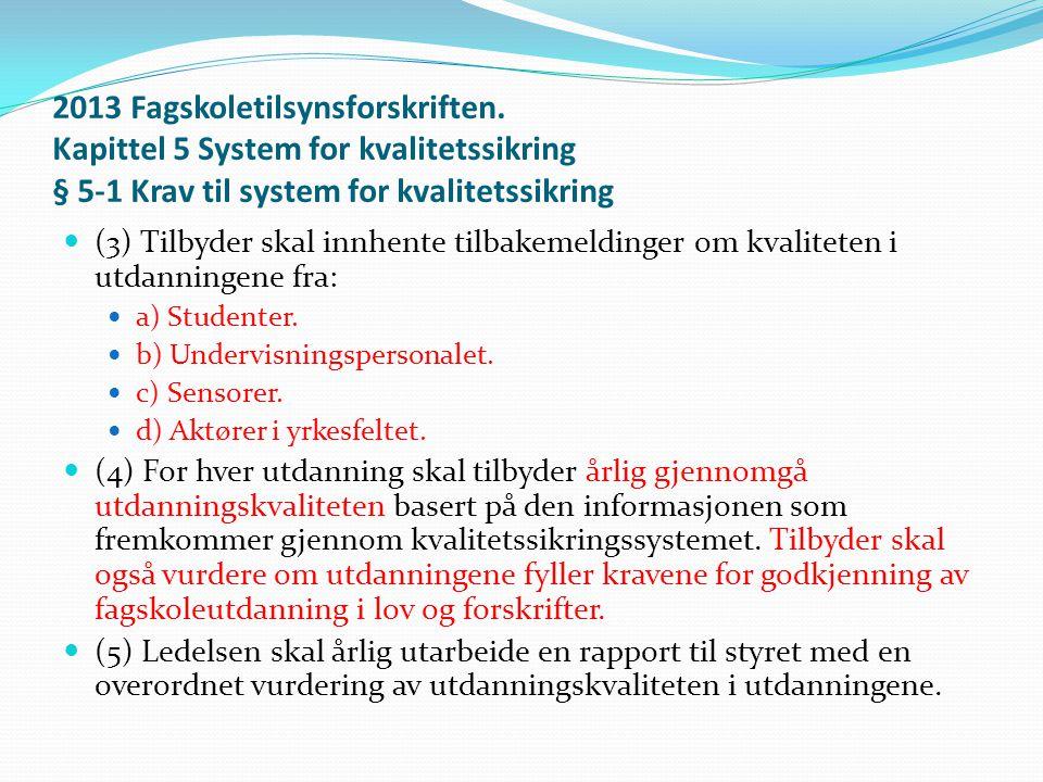 2013 Fagskoletilsynsforskriften