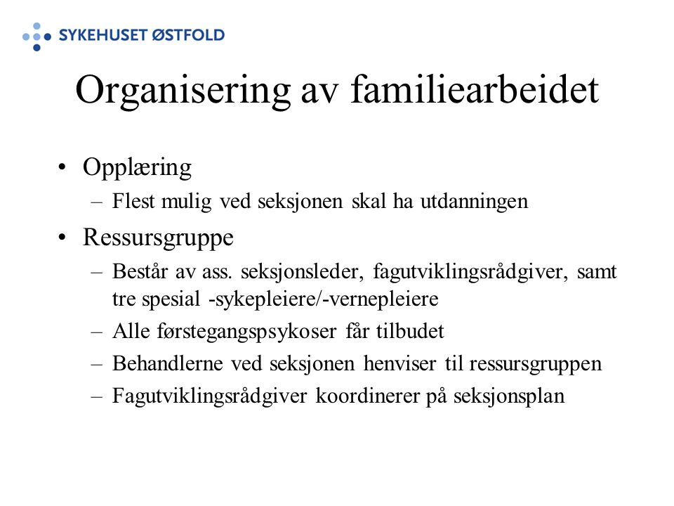 Organisering av familiearbeidet