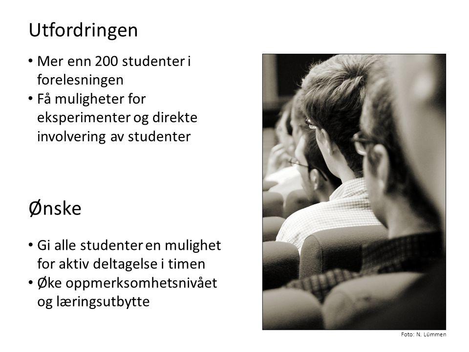 Utfordringen Ønske Mer enn 200 studenter i forelesningen