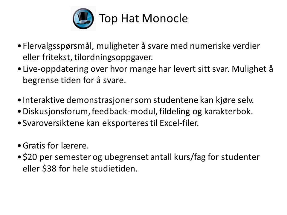 Top Hat Monocle Flervalgsspørsmål, muligheter å svare med numeriske verdier eller fritekst, tilordningsoppgaver.