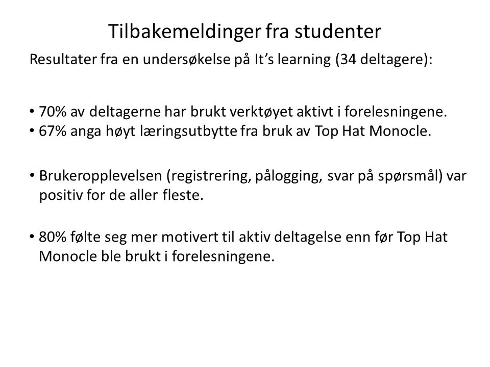 Tilbakemeldinger fra studenter