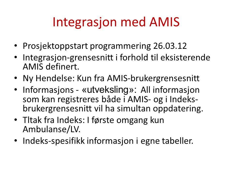 Integrasjon med AMIS Prosjektoppstart programmering 26.03.12