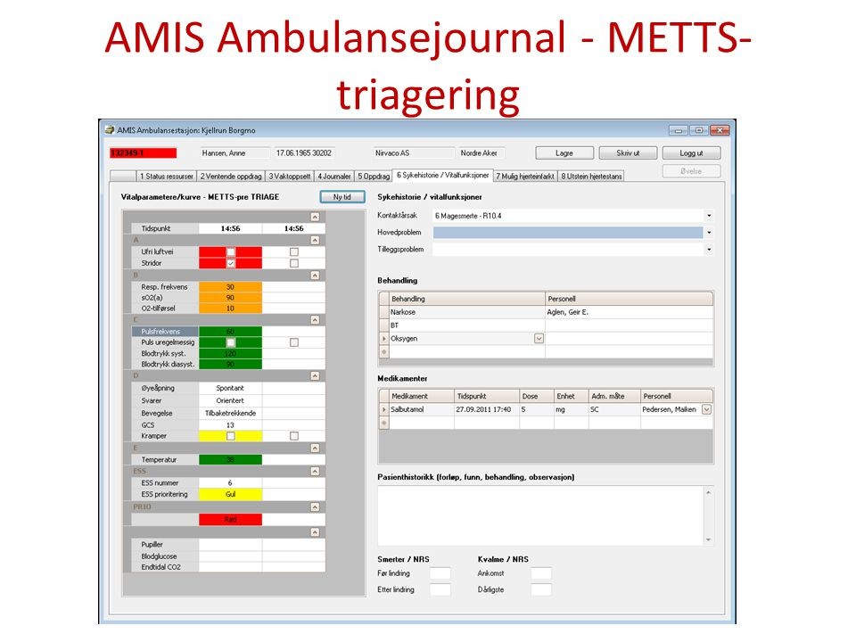 AMIS Ambulansejournal - METTS-triagering