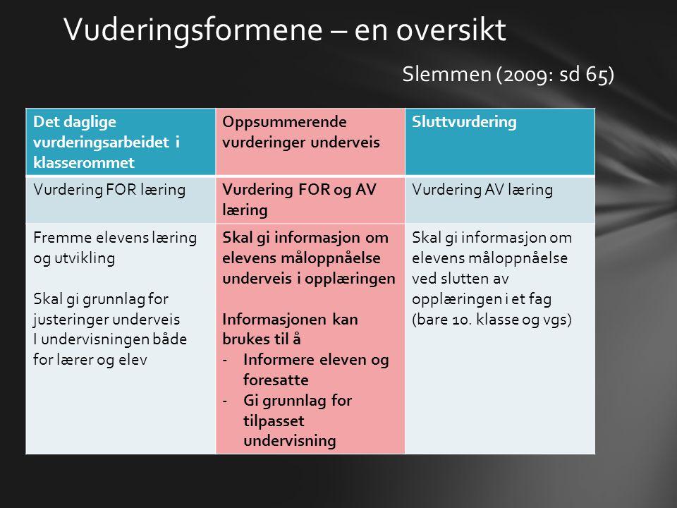 Vuderingsformene – en oversikt Slemmen (2009: sd 65)