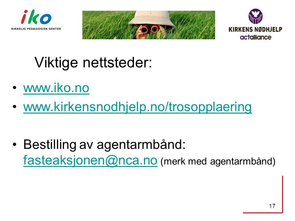 Viktige nettsteder: www.iko.no www.kirkensnodhjelp.no/trosopplaering