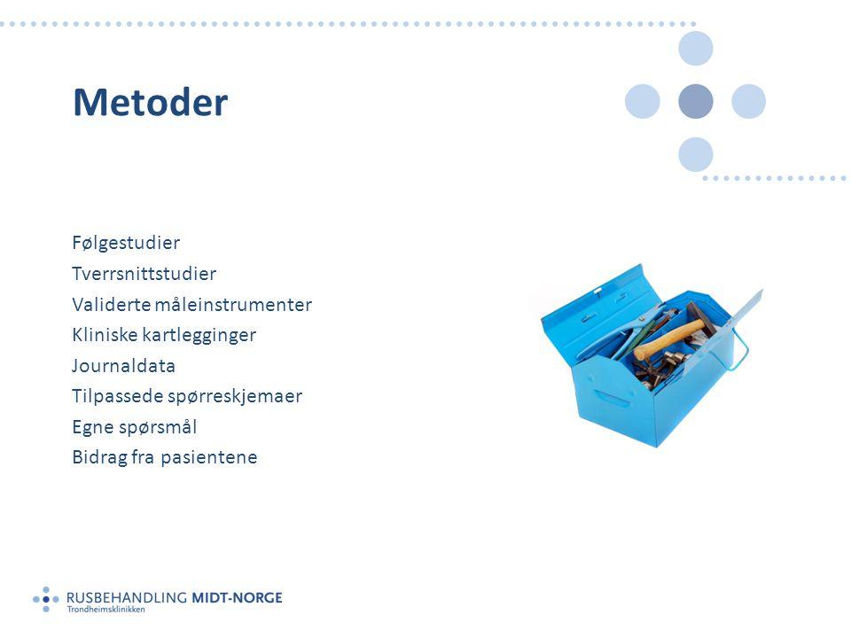 Metoder Følgestudier Tverrsnittstudier Validerte måleinstrumenter