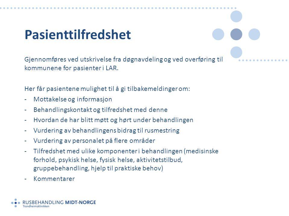 Pasienttilfredshet Gjennomføres ved utskrivelse fra døgnavdeling og ved overføring til kommunene for pasienter i LAR.