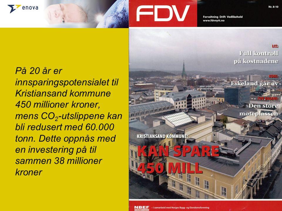 På 20 år er innsparingspotensialet til Kristiansand kommune 450 millioner kroner, mens CO2-utslippene kan bli redusert med 60.000 tonn.
