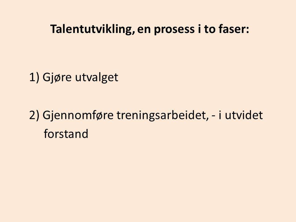 Talentutvikling, en prosess i to faser: