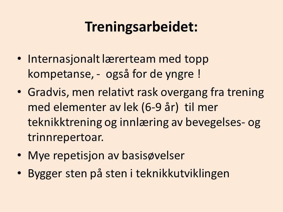 Treningsarbeidet: Internasjonalt lærerteam med topp kompetanse, - også for de yngre !