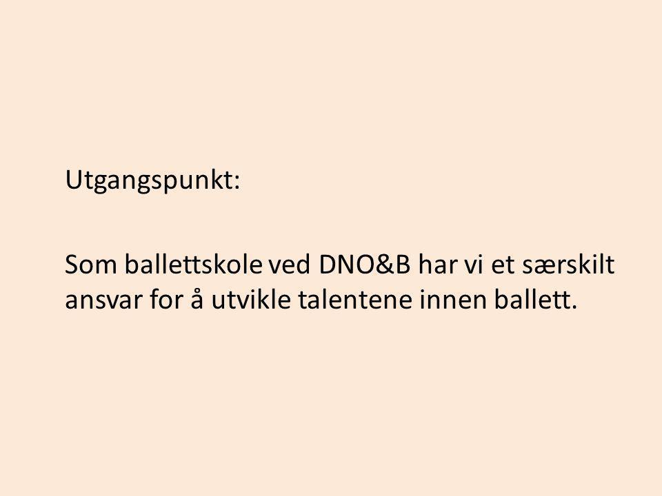 Utgangspunkt: Som ballettskole ved DNO&B har vi et særskilt ansvar for å utvikle talentene innen ballett.