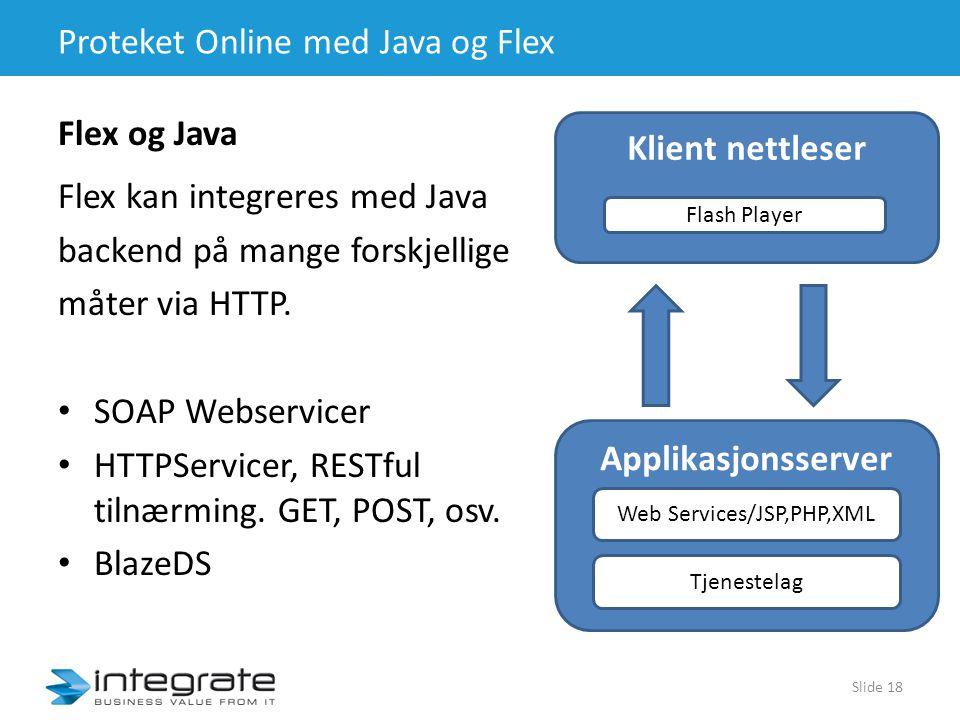 Proteket Online med Java og Flex