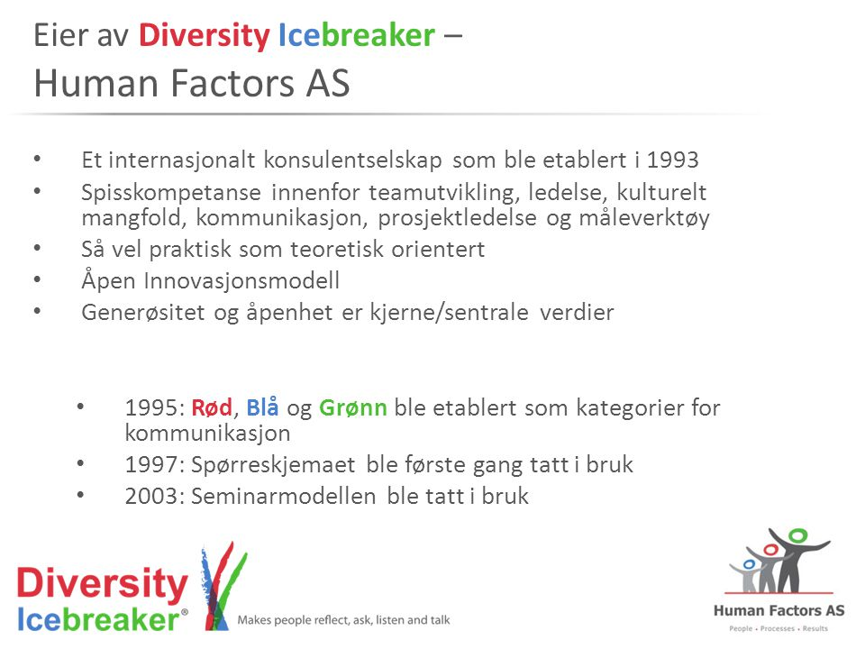 Eier av Diversity Icebreaker – Human Factors AS