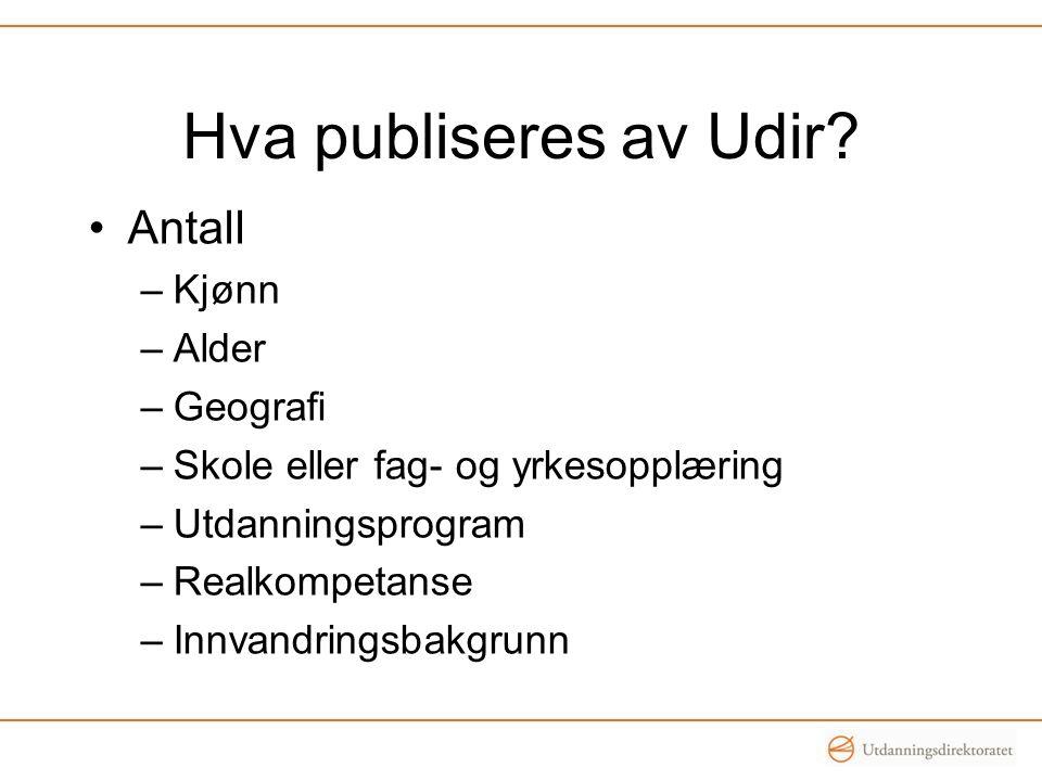 Hva publiseres av Udir Antall Kjønn Alder Geografi