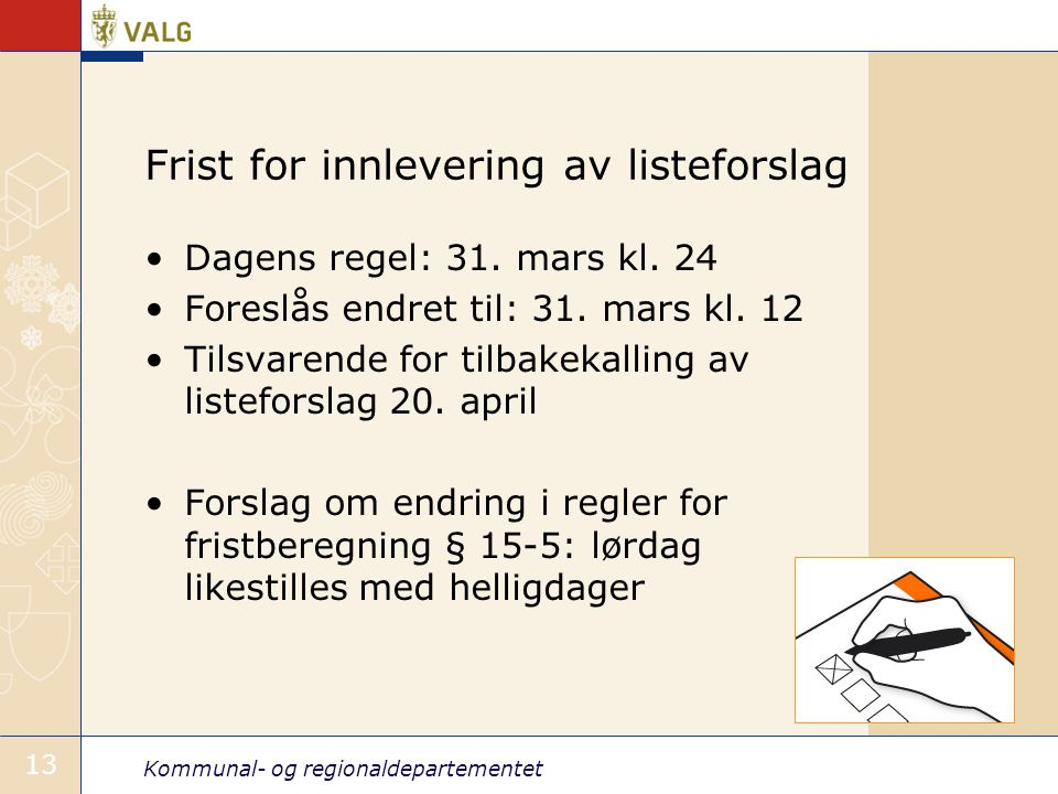 Frist for innlevering av listeforslag