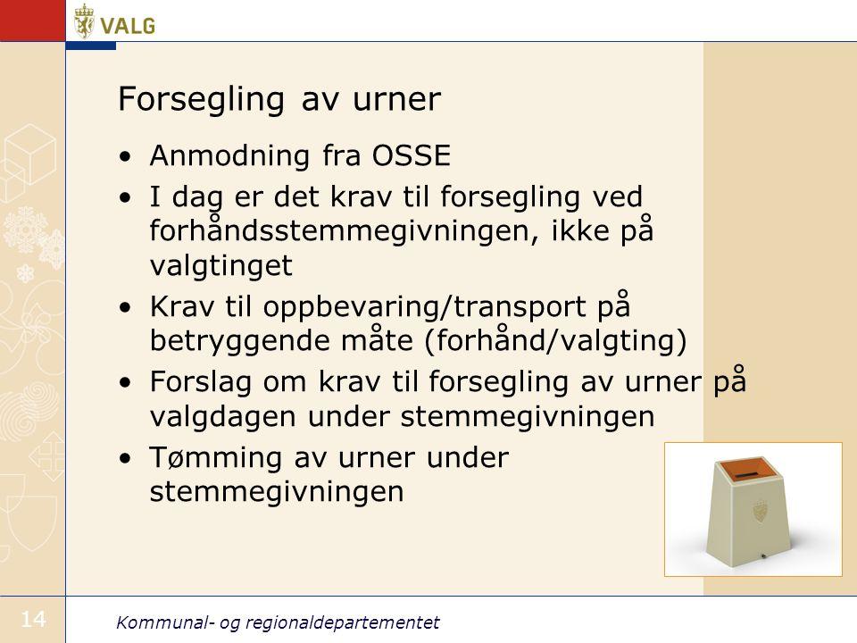 Forsegling av urner Anmodning fra OSSE