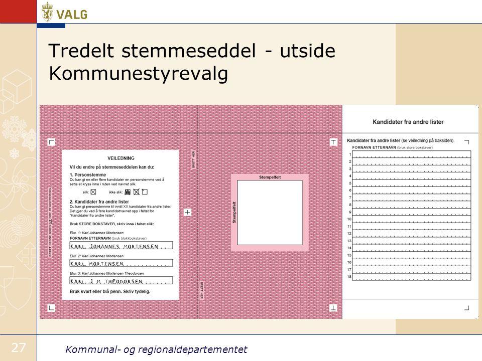 Tredelt stemmeseddel - utside Kommunestyrevalg