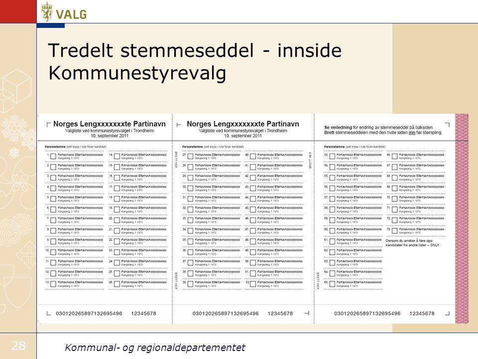 Tredelt stemmeseddel - innside Kommunestyrevalg