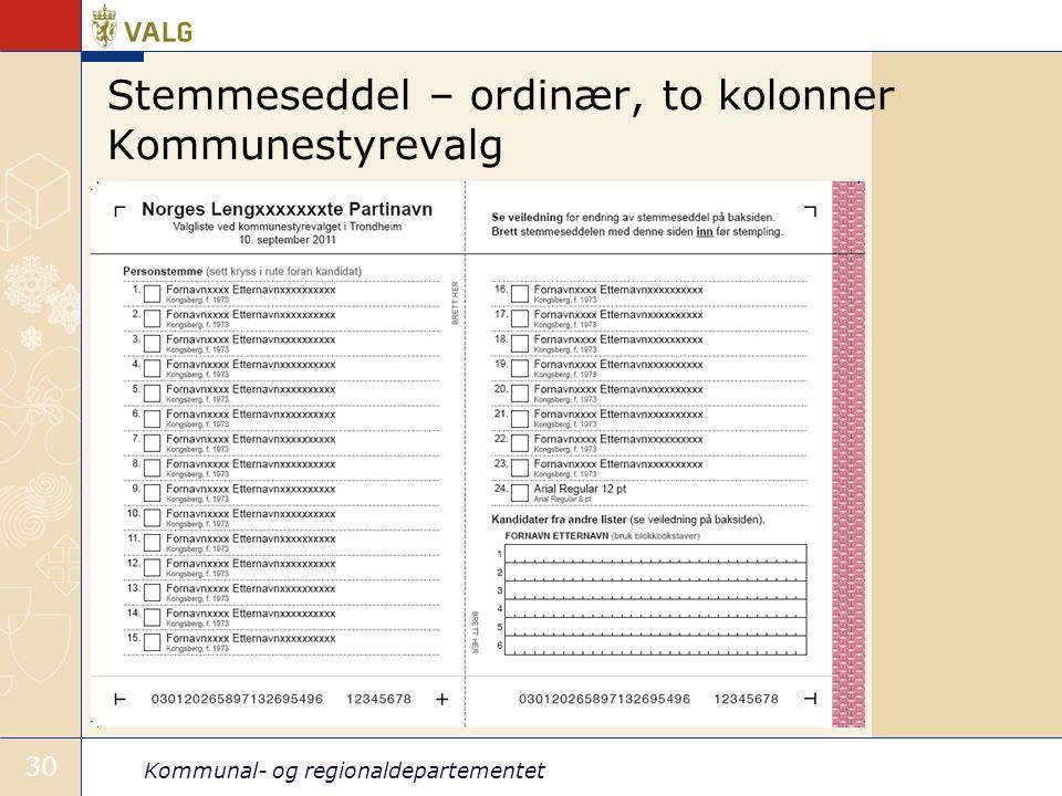 Stemmeseddel – ordinær, to kolonner Kommunestyrevalg