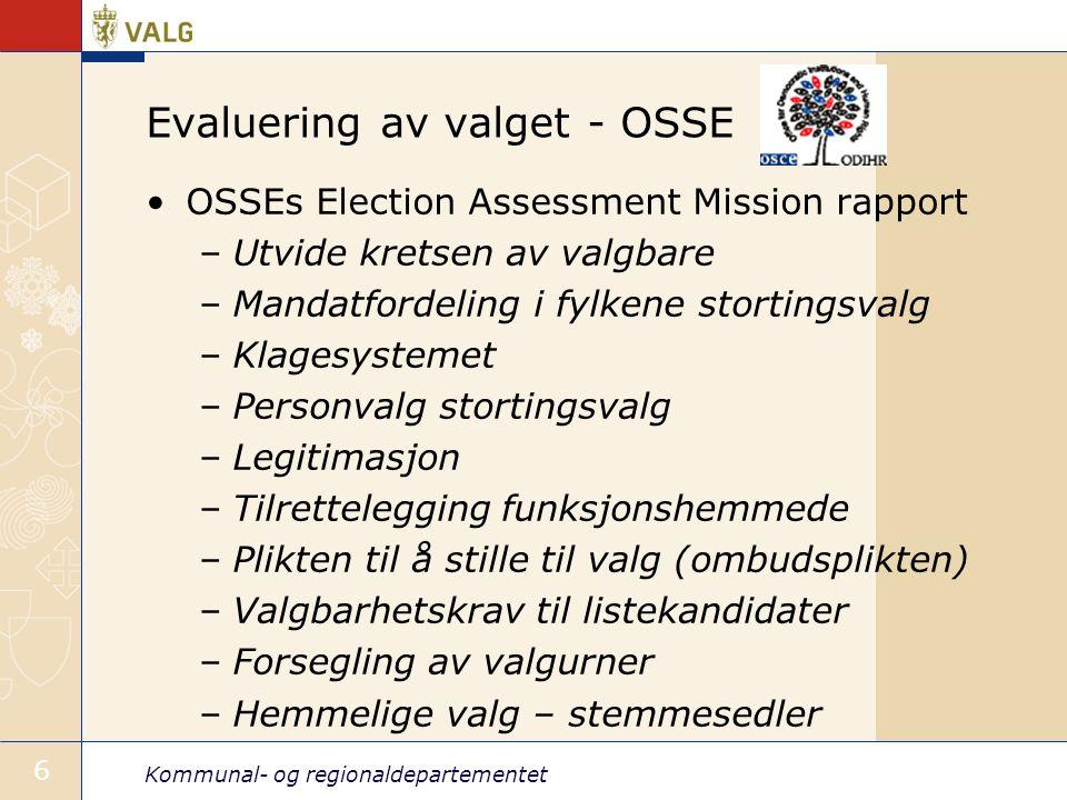 Evaluering av valget - OSSE