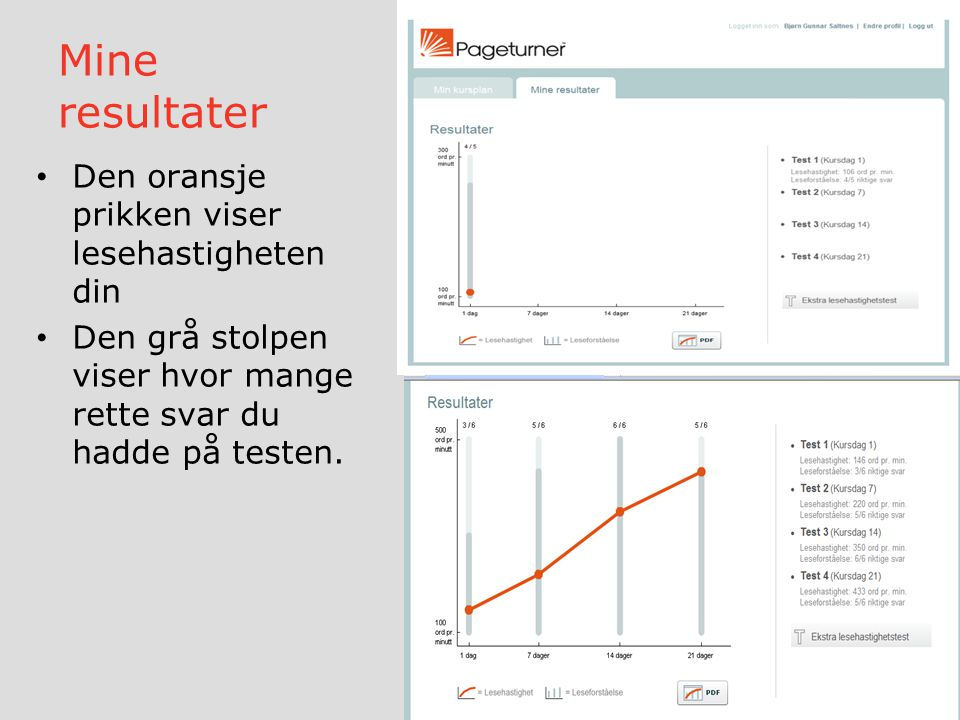 Mine resultater Den oransje prikken viser lesehastigheten din