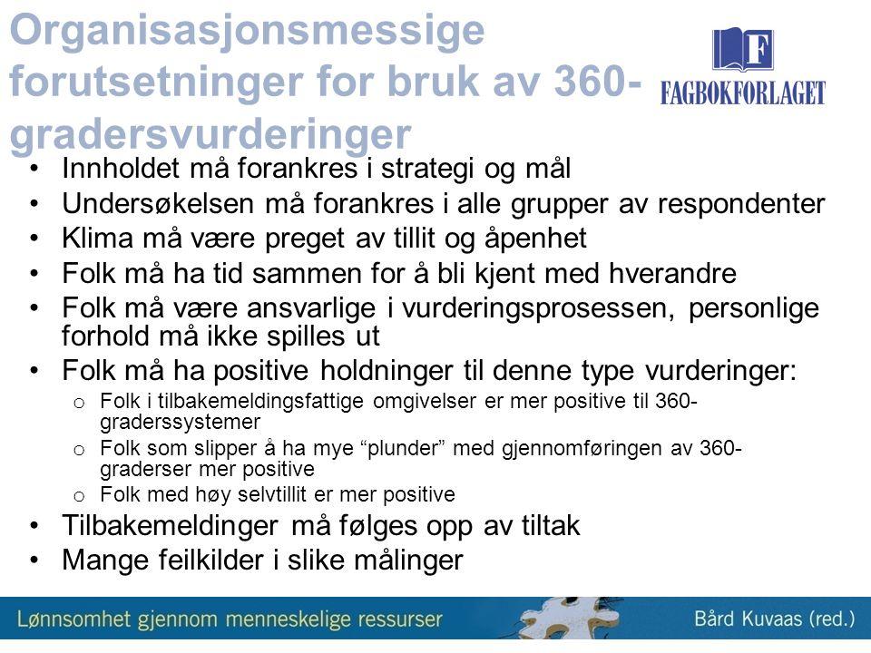 Organisasjonsmessige forutsetninger for bruk av 360-gradersvurderinger