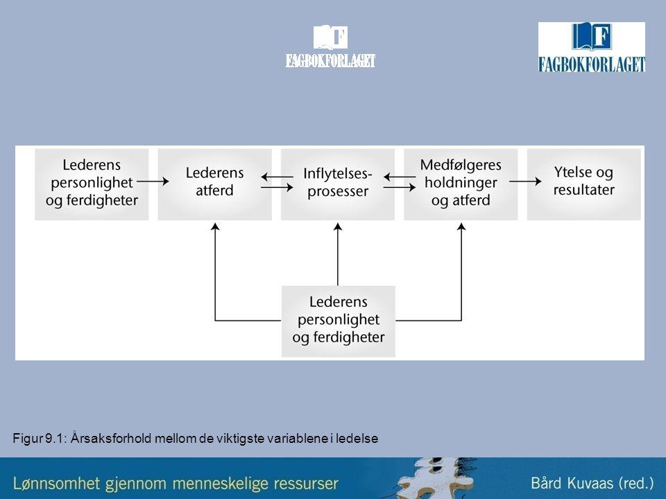 Figur 9.1: Årsaksforhold mellom de viktigste variablene i ledelse