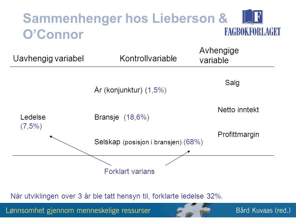 Sammenhenger hos Lieberson & O'Connor