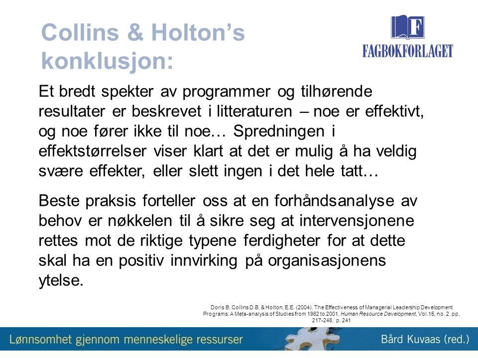 Collins & Holton's konklusjon:
