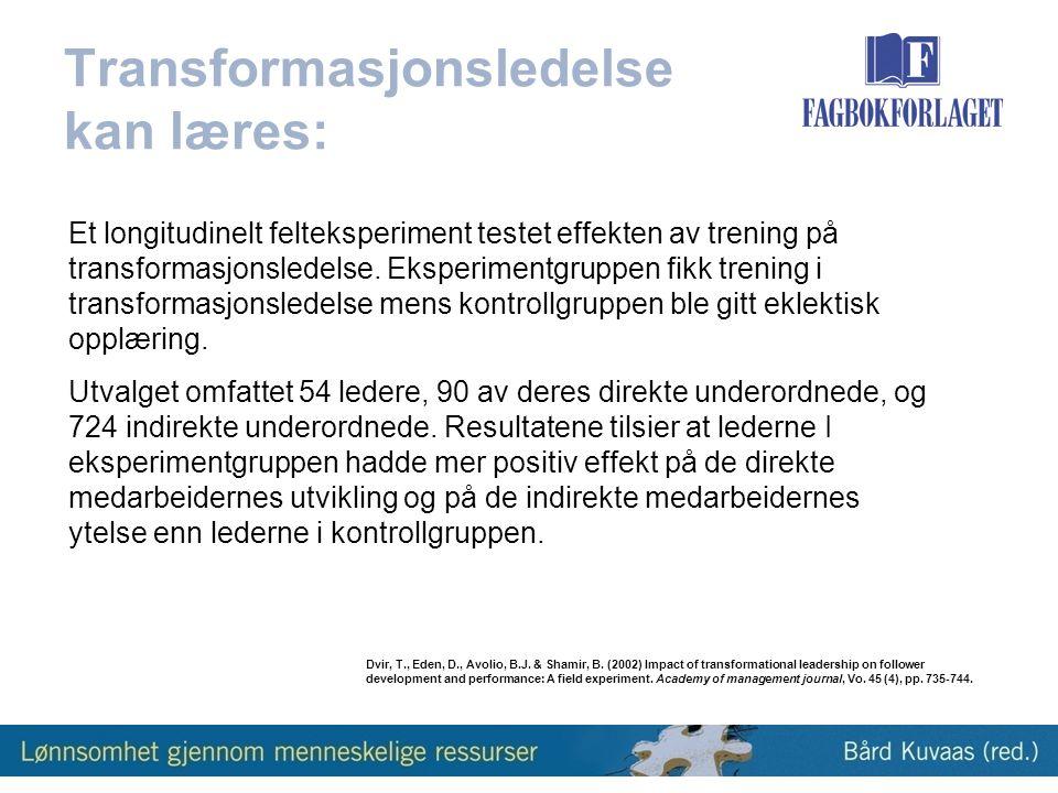Transformasjonsledelse kan læres: