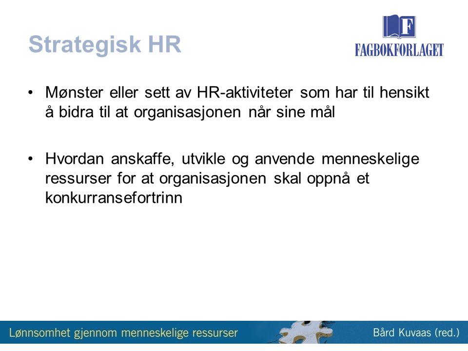 Strategisk HR Mønster eller sett av HR-aktiviteter som har til hensikt å bidra til at organisasjonen når sine mål.