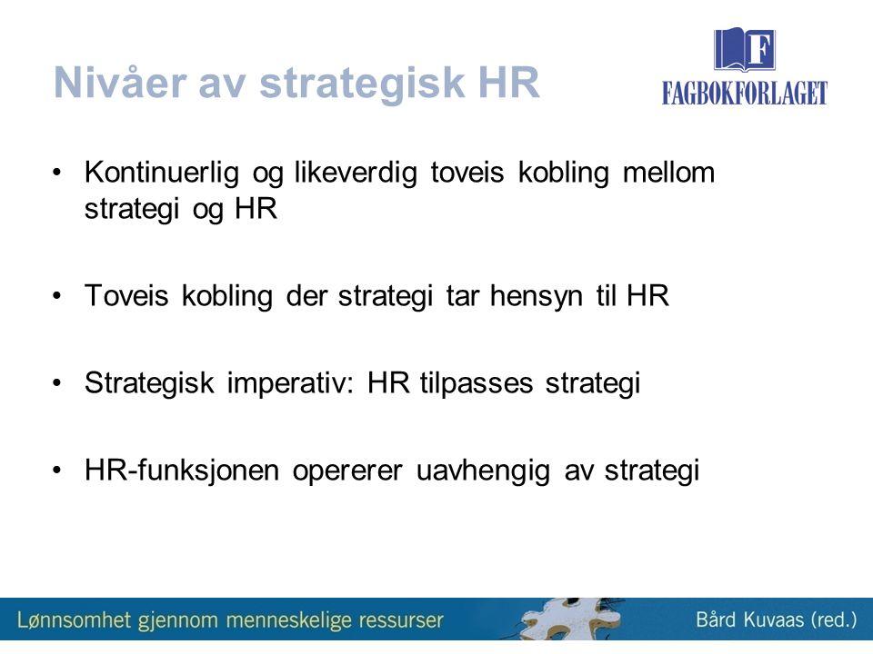 Nivåer av strategisk HR