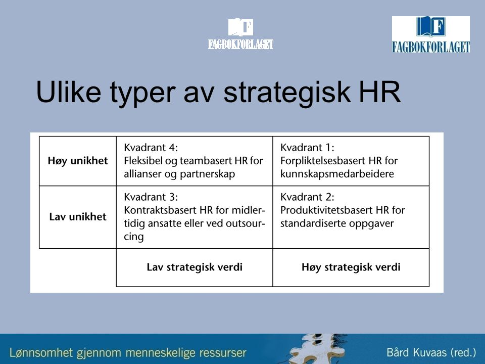 Ulike typer av strategisk HR